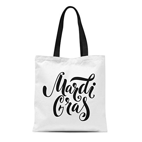 Semtomn Cotton Canvas Tote Bag Announcement Mardi Gras Text Black Bold Carnaval Carnival Celebrate Reusable Shoulder Grocery Shopping Bags Handbag Printed