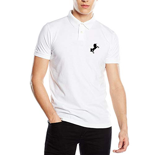 LianLiYa Men Unicorn Alpha Short Sleeve Classic Athletic Polo Shirt T-Shirts White