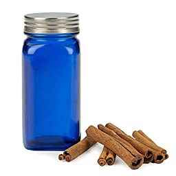 RSVP Square Blue Glass Spice Jar with Brushed Stainless Steel Lid, Set of 12