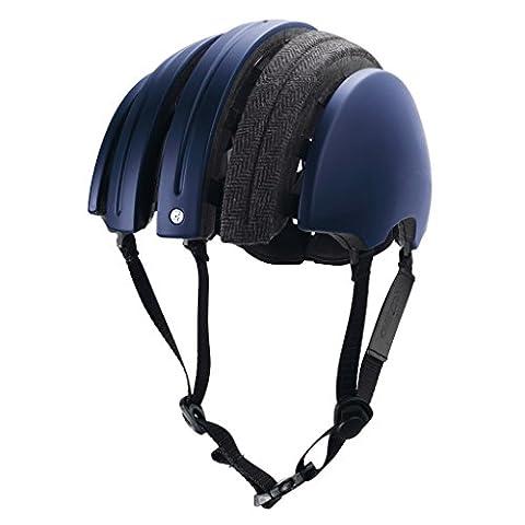 Brooks Foldable Helmet Carrera Collaboration with Fabric Cover, Large, Dark Blue/Grey Tartan - Folding Bike Helmet