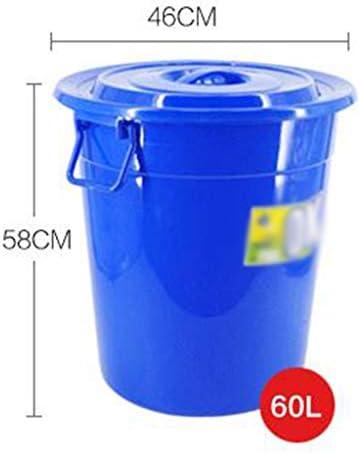 滑らかな表面 プラスチック廃棄物のビン、工場公衆の場地下鉄駅のゴミ箱ラウンド分類ゴミ箱缶蓋とハンドル付き リサイクル可能なデザイン (Color : White, Size : 57*57*60CM)