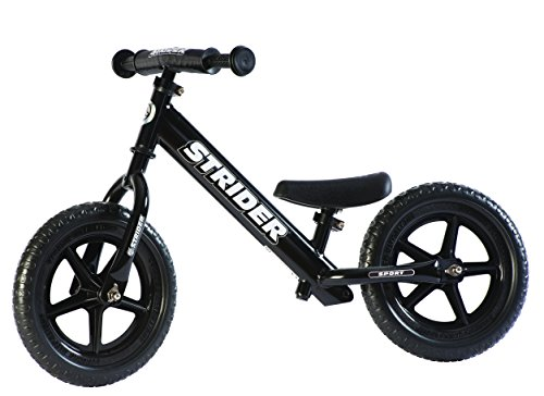 Strider – 12 Sport Balance Bike, Ages 18 Months to 5 Years, Black