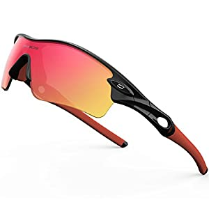 RIVBOS 805 POLARIZED Sports Sunglasses Glasses with 5 Set Interchangeable Lenses for Cycling (TR Black Ice Red Lens)