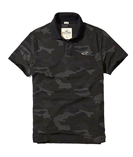 Hollister Men's Polo Shirt T Shirt (M, Black (Camo Polo Shirts)