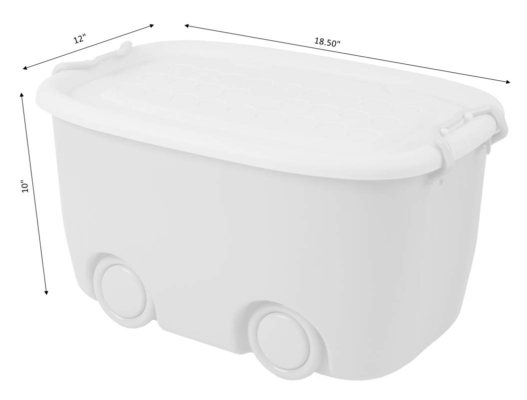 Stackable Toy Storage Box with Wheels Large Yellow
