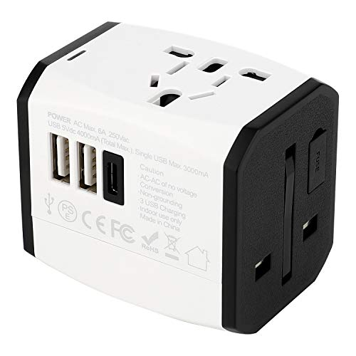 AIAI International Travel Adapter 2500w,Worldwide All in One Universal Travel Adapter with 3 USB Ports, 1 AC Plug Suit…