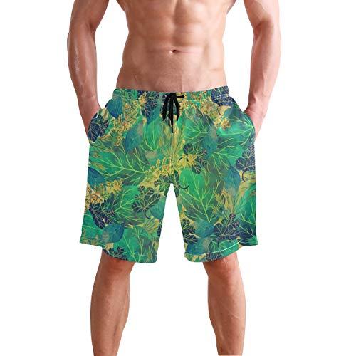 Chic Houses Green Plant Minimalist Boardshort Swim Trunks Watershort for Men 2030143