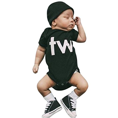 One Playsuit (Coper Infant Baby Boys Girls Twins Letter Print Romper Playsuit Outfits (Black 1, 3 Months))