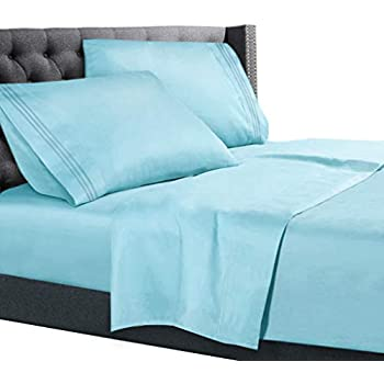Full XL Size Bed Sheets Set Light Baby Blue, Bedding Sheets Set On Amazon,  4 Piece Bed Set, Deep Pockets Fitted Sheet, 100% Luxury Soft Microfiber, ...