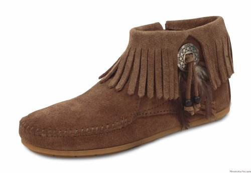 Minnetonka Women's Concho/Feather Side Zip Boot,Taupe,7 M US Minnetonka Genuine Boots