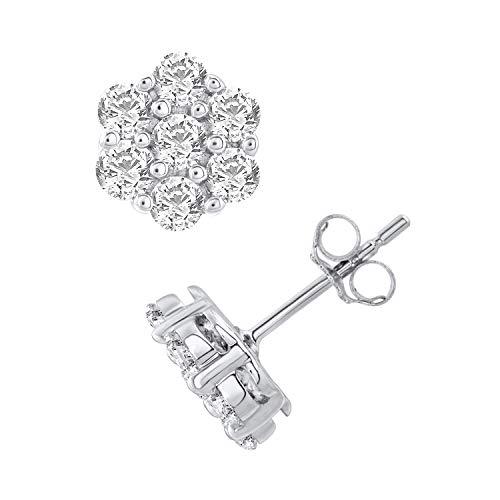 (10k White Gold Diamond Flower Cluster Stud Earring (1.01 cttw, H-I Color, I2 Clarity))