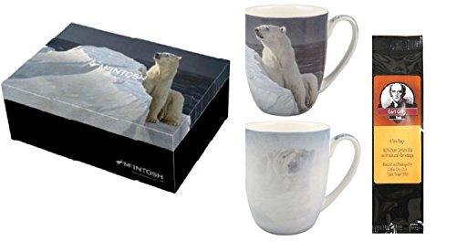 (2 Coffee or Tea Mugs, Robert Bateman Polar Bears in a Matching Gift Box Bundle with 1 Gift Package of 6 Tea Bags)