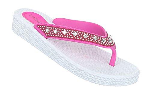 Damen Sandalen Schuhe Sommerschuhe Strandschuhe Zehentrenner Mit Strass Weiß Schwarz Blau Pink Weiß 36 37 38 39 40 41 Pink