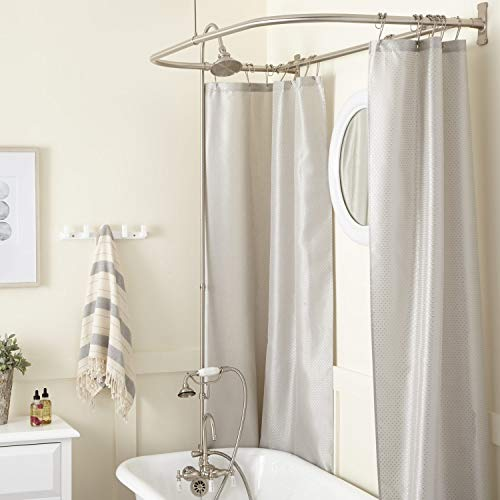 Signature Hardware 428024 Gooseneck Hand Shower Conversion Kit with Brass Shower Head, Porcelain Lever Handles and 54
