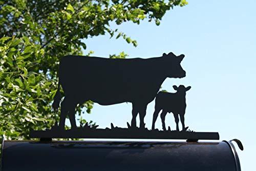 Standing Cow and Calf Pair Metal Mailbox Topper - Matte Black