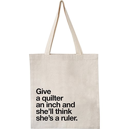 Happy Lines Gifts Happy Lines Canvas Tote Give an Inch Natural Quilt CanvAssortedoteGiveAnInch NAT