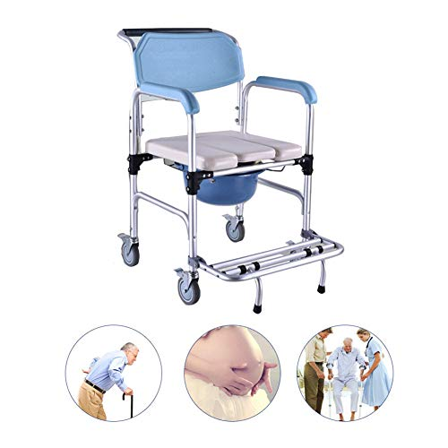 Multifunction Transport Wheelchair, with Wheels Scrolling Shower Wheelchair Bathroom Toilet Chair, Lightweight Aluminum Alloy Pull Type Stool Bucket Self-propelled Chair,A ()