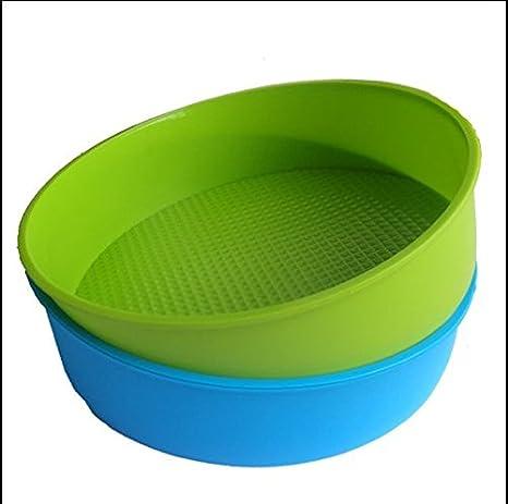 MTSZZF Molde para Hornear Molde de Silicona 26cm/10 Pulgadas Bandeja Redonda para Hornear Pan Azul y Verde Color Aleatorio: Amazon.es: Hogar
