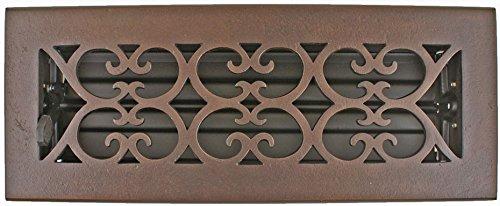 Hamilton Sinkler HVT-310-BPD Hamilton Sinkler Scroll Floor Vent with Damper, 3 by 10-Inch, Bronze Patina Dark