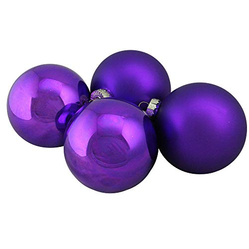 Northlight WY00774 Purple Glass Ball Christmas Ornament Set, 4