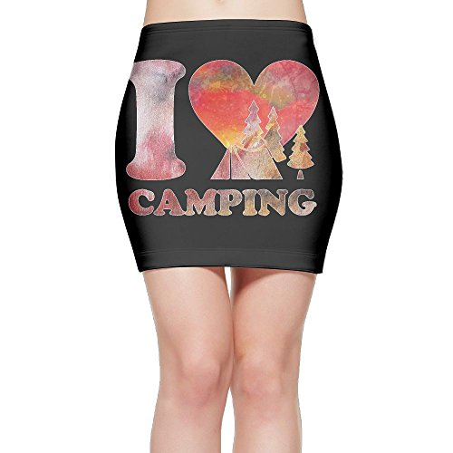 I Love Camping Women's High Waist Bodycon Pencil Skirt Strethcy Short Fitted Mini Skirt