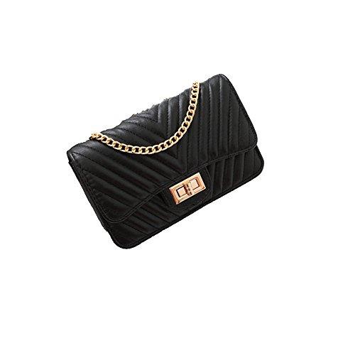 GMYANDJB Shoulder Bags Women Crossbody Bags Small Flap Leather Bag V Quilted Chain Shoulder Handbag Brand Lady Messenger Bag Red Pink Black - Black