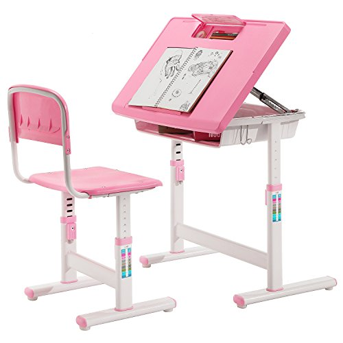Child 39 S Adjustable Pink Metal Storage Desk And Chair Set