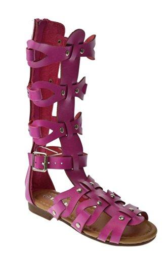 07K Tan Flat Atta Little Girls Gladiator Sandals Strappy Comfort Link Fuchsia 5nTqzOWxz