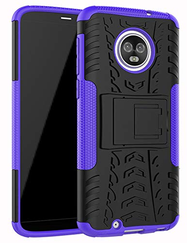 Moto G6 Case,Yiakeng Dual Layer Wallet Accessories Bumper Hard Protective Flip Waterproof Phone Cases Cover with A Kickstand for Motorola Moto G (6th Generation) 5.7 (Purple)
