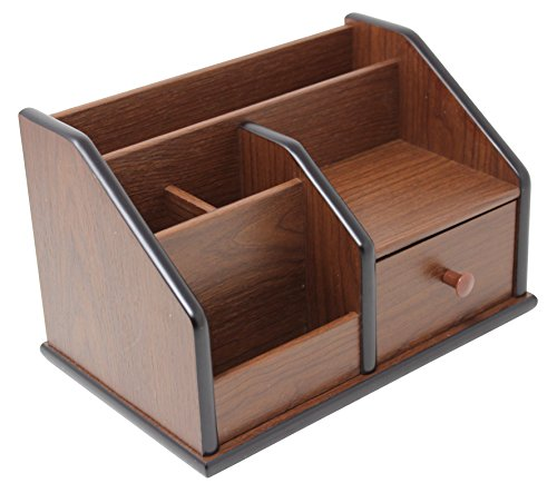 Cherry Brown Office Wooden Desk Organizer With 1 Drawer and Multiple Shelves/Racks for Office Supplies and Desk Accessories - Can be Used on Desktop|Table|Counter in Kitchen or Work Space