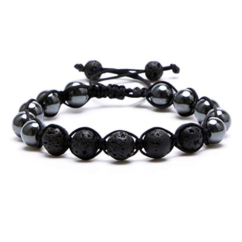 Bivei Lava Rock Stone Aromatherapy Essential Oil Diffuser Braided Woven Adjustable Natural Gemstone Beads Crystal Bracelet(Hematite)