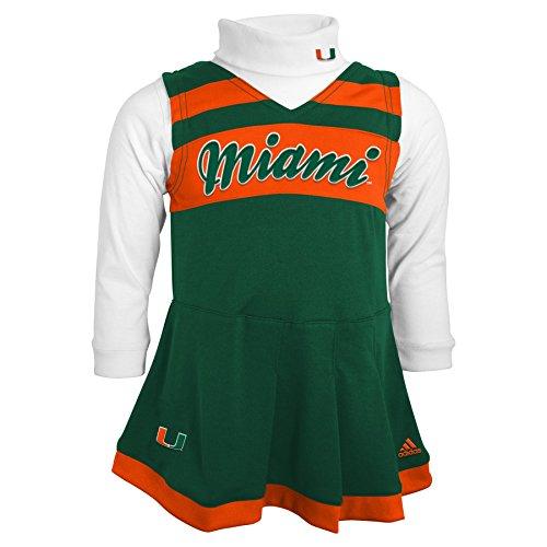NCAA Miami Hurricanes Girls 4-6X Turtleneck Cheer Jumper Dress, Large (6X), Dark (Infant Cheer Jumper)