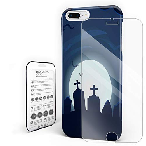 Cases for iPhone 7/8 Plus, [Built-in Screen Protector] Slim Fit Shell Anti-Scratch Shock & Fingerprint Full Protective Hard Covers for Apple Phone 5.5 Inch - Happy Halloween Horro Cemetery -