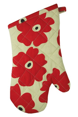 MUkitchen 100% Cotton, Terry-Lined Oven Mitt, 13-Inches, Red ()