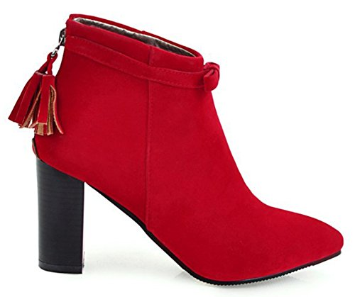 Sweet Red Aisun Frosted Women's Ankle Pointed Toe Booties Tassels aqO6O
