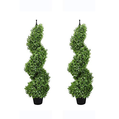 MOMO PLANT Two Sets 3Ft Artificial Plants Boxwood Leave Topiary Tree Spiral Indoor/Outdoor Potted Fake Plant Green (35inch)