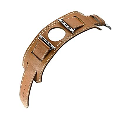 Elobeth for Apple Watch Band,iwatch Band Apple Watch Leather Band, iWatch Band Genuine Leather Band Cuff Bracelet Wrist Watch Band with Adapter for Apple Iwatch by EloBeth