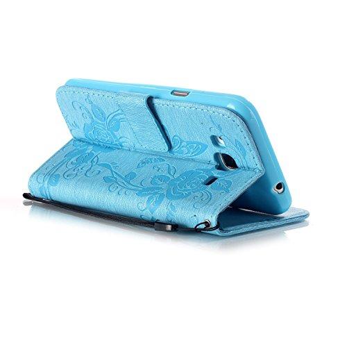 JIALUN-Personality teléfono shell Funda Samsung J310, caja de cuero sintético de alta calidad de la PU con resina 3D Rhinetone mariposa caja estampada de flores en relieve funda para Samsung J310 Segu Blue
