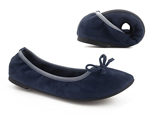 Ballerina On Flats Greatonu Foldable Shoes Comfort Blue Slip Women Ballet wxIIXqF