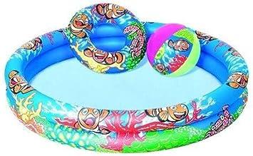 JOVAL® -Pack Piscina refrescante Infantil Nemo, de 122 centímetros, con Flotador y Pelota de Colores Vibrantes para Jardin terraza o casa: Amazon.es: Juguetes y juegos