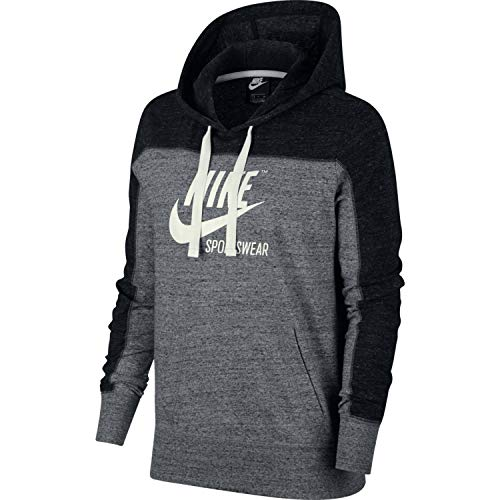 Nike Womens Gym Vintage Pull Over Graphix Hoodie Black/Carbon Heather/Cool Grey AV8298-010 Size Small