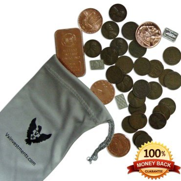 Vx Investments Ultimate Coin Bag. 25 Wheat Pennies, One Ounce Copper Bullion, Four 1/4 Ounce Copper Rounds, Three One Gram Silver Bars, And A Custom Microfiber Pouch. (Bullion Black Finish)