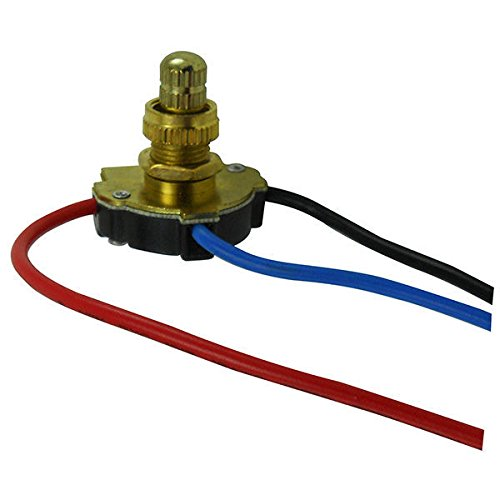 Turn Knob - On/Off Canopy Switch - 3 Way - Polished Brass - 6 Amp - 125 Volt - PLT (Off Turn Knob)