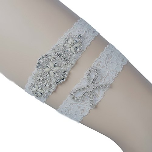 Handmade Wedding Garter - Ivory Lace Crystal Applique Bride Garter Set Wedding Leg Garter Belt Handmade WG1001 (XL)