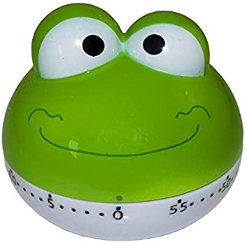 BINGONE Assorted Colors Cute Kitchen Timer Mini 55 Mins Animal Timer Countdown Frog (Green)