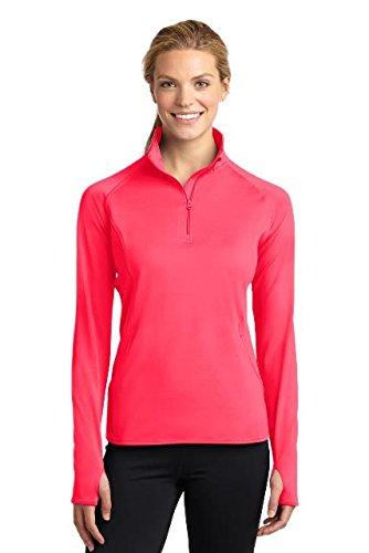 Sport-Tek Women's Sport Wick Stretch 1/2 Zip Pullover XL Hot Coral