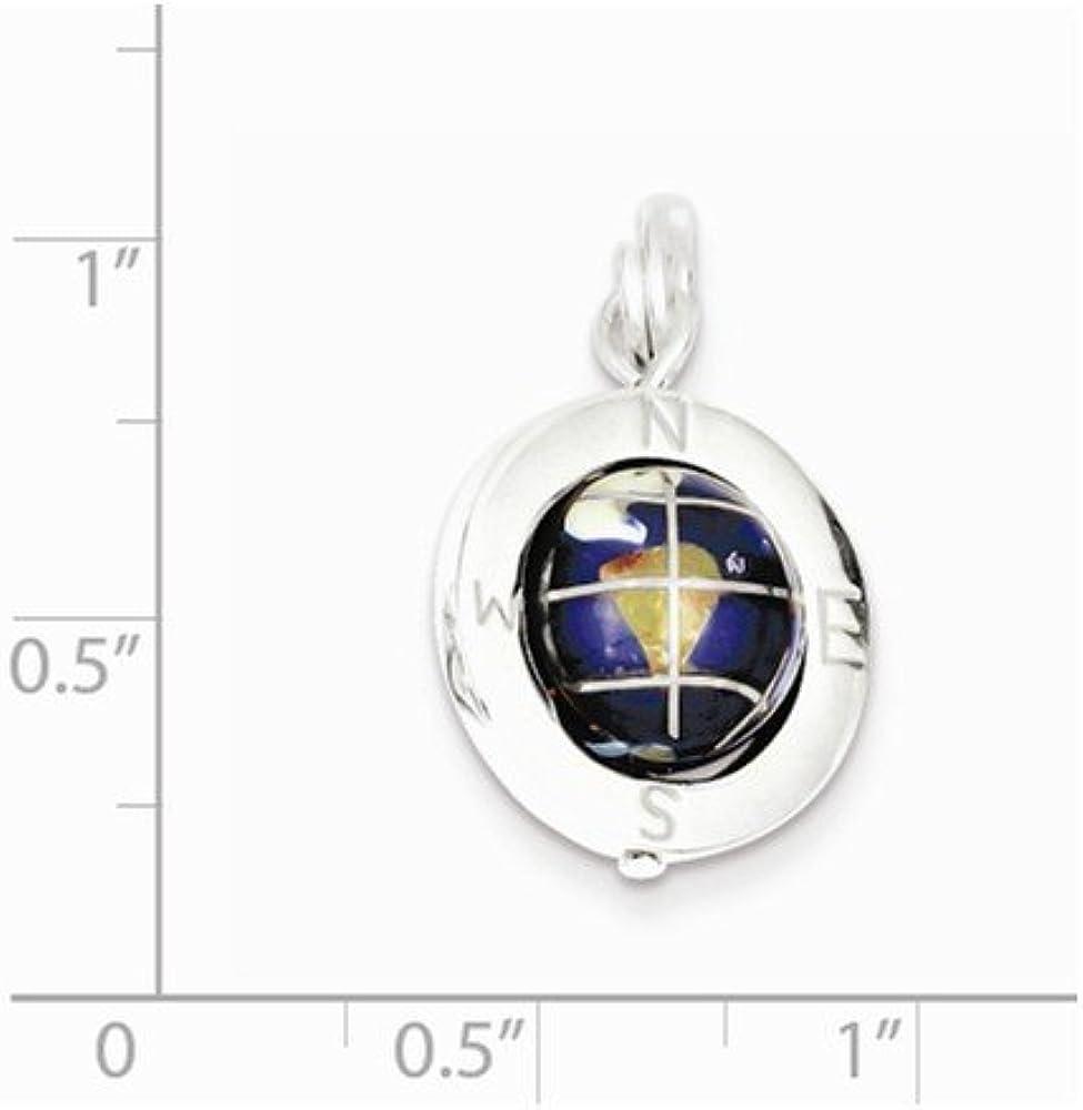Diamond2Deal 925 Sterling Silver Enameled Globe Pendant for Women