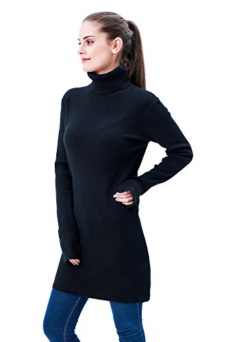 MEEFUR Winter Long Sleeves Sweater Dress Soft Pullover Stretchy Tunic Ribbed Turtleneck Tops Knitwear for Women (Black,US2-US8)