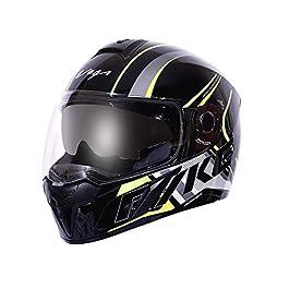 Vega Ryker D/V Track Full Face Helmet (Black Neon and Yellow, Medium)