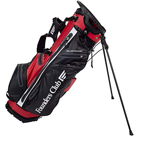 (Founders Club Waterproof Golf Stand Bag Ultra Dry for Rainy Days on The Golf Course Light Weight 14 Way Full Length Divider with Dual Padded Carry Strap (Red))